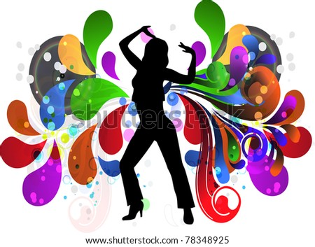Vector illustration - a girl in a disco on a colorful backgroundna?zvu-1 - stock vector