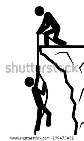 Vector / illustration. A man holds another man in a rope. - stock vector