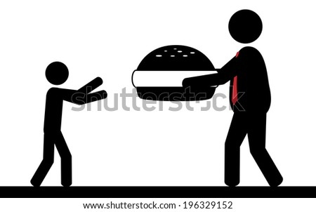 Vector / illustration. A man is giving a hamburger to a child. - stock vector