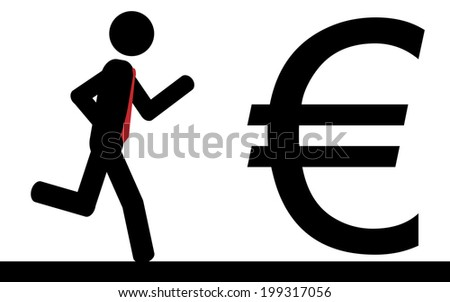 Vector/illustration. A man is running to a euro sign. - stock vector