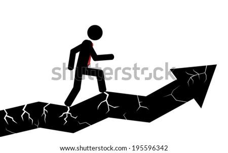 Vector / illustration. A man is walking on a broken arrow. - stock vector