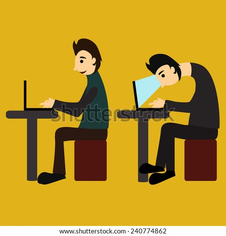 Vector illustration. A man sits hunched at the computer - stock vector