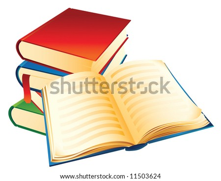 Vector illustration - a pile of old books - stock vector