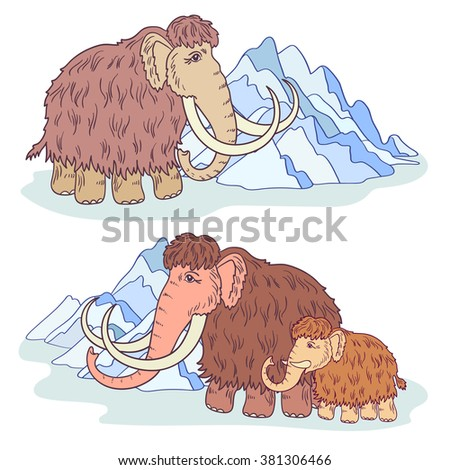 vector, illustration, a set of family mammoth, animal, ice age, young, mountain, design element, abstract, art - stock vector