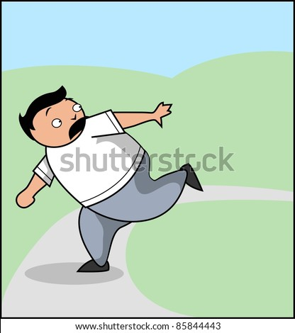 Vector Illustration: A very frightened man running away from something - stock vector
