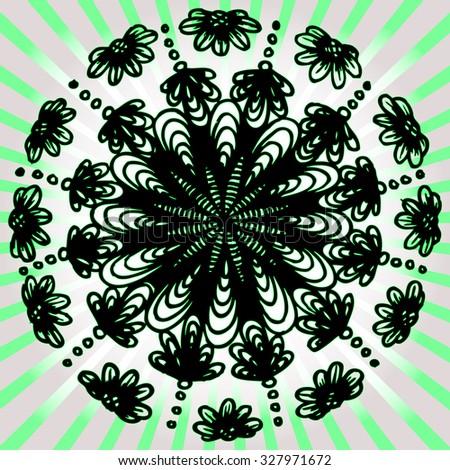 Vector illustration, abstract artline, kaleidoscope mandala, card concept. - stock vector