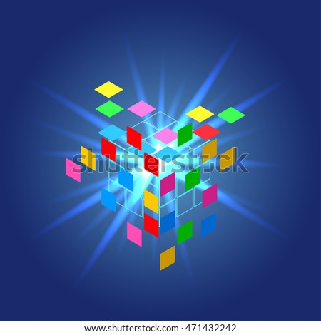 vector illustration abstract background with light rays emanating from the center and the colored faces flying in different directions