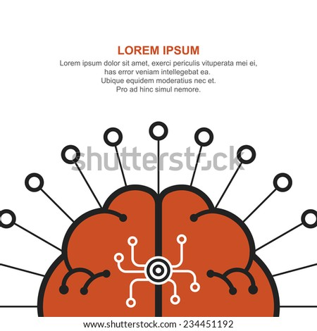 vector illustration abstract brain sign, creative idea concept poster design - stock vector