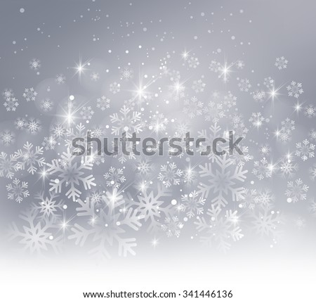 Vector illustration. Abstract Christmas snowflakes background. Gray color - stock vector