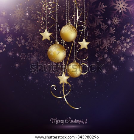 Vector illustration. Abstract Christmas snowflakes background with gold balls and stars.  - stock vector
