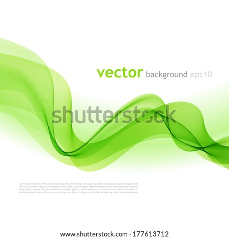 Vector illustration Abstract colorful background with green smoke wave - stock vector