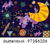 Vector illustration, abstract cosmos, card concept. - stock vector