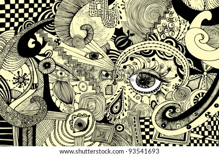 Vector illustration, abstract eyes artwork, card concept - stock vector