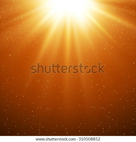 Vector  illustration Abstract gold  magic light background - stock vector