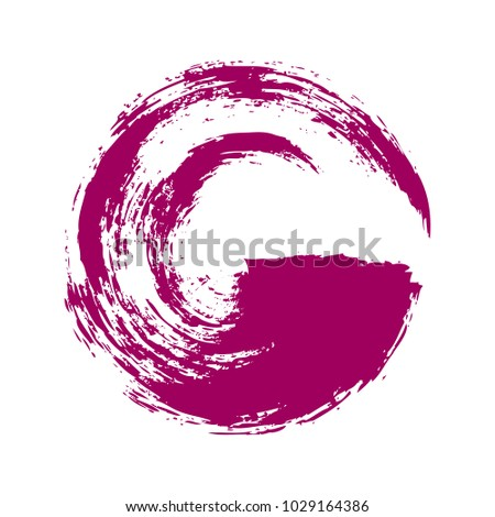 Vector illustration. Abstract purple circle painted with brush on white background.
