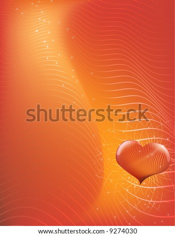 Vector illustration - abstract Valentine's Day background made of curved lines - stock vector
