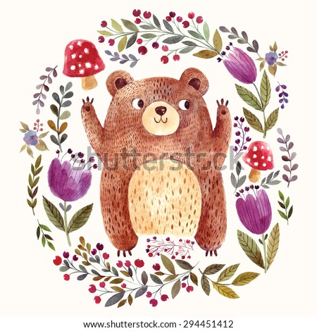 Vector illustration: adorable bear in watercolor technique. Beautiful card with lovely cute little bear. - stock vector