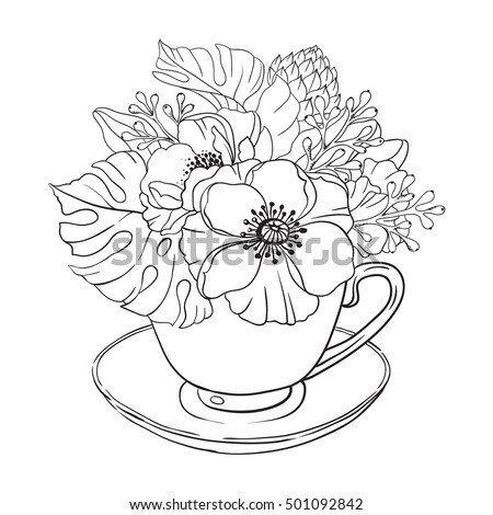 Flowers Coloring Page Stock Images, Royalty-Free Images & Vectors ...