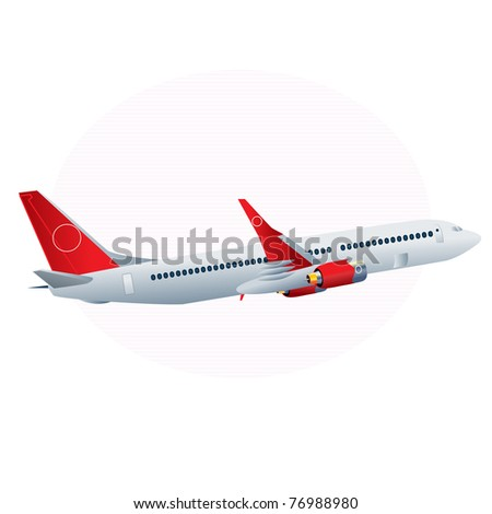 Vector illustration, airplane icon, card concept, white background. - stock vector