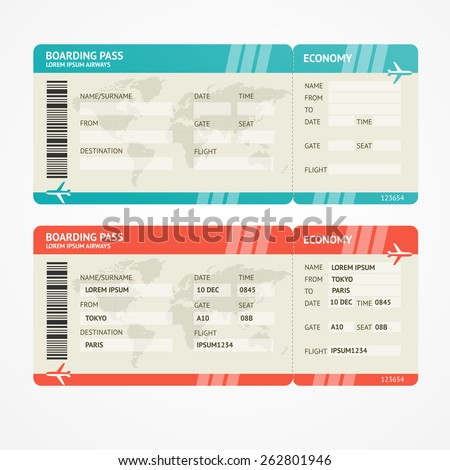 Vector illustration airplane tickets. Travel concept. Isolated on white. Enjoy your holiday. - stock vector