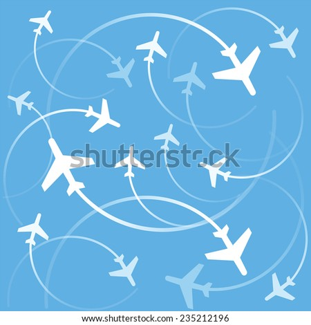 Vector illustration Airplanes flights - stock vector