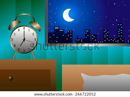 Vector illustration. Alarm clock at the window beside the bed in the evening. - stock vector