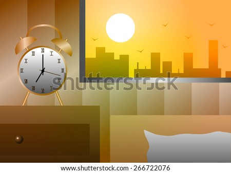 Vector illustration. Alarm clock at the window beside the bed in the morning. - stock vector