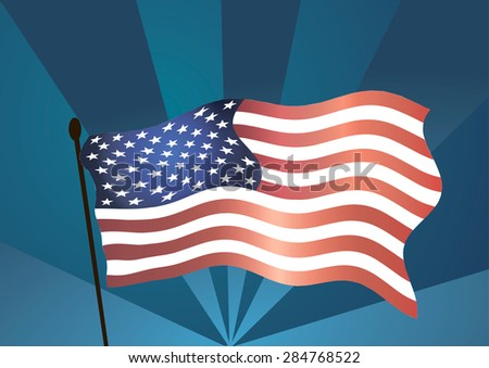 Vector illustration. American flag on blue background.