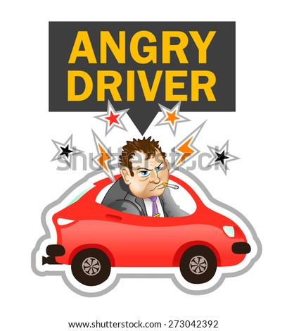 "Vector Illustration: ""Angry Driver Label"". Annoyed Cartoon Man is Looking at you from Red Car - stock vector"