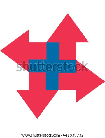 Vector illustration arrows creating a plus sign. Business Icon - stock vector