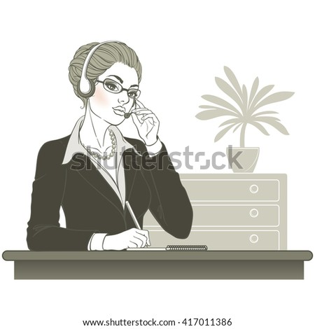 Vector illustration. Attractive young woman. Call center operator with notebook and headsets at workplace. Isolated on white background