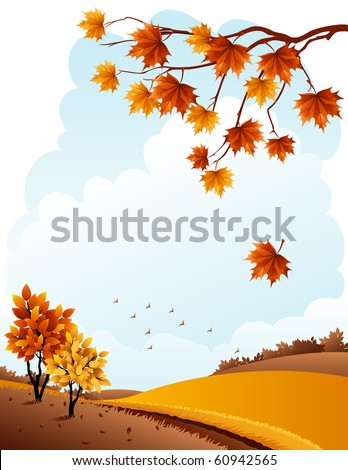 Vector illustration - autumn rural landscape and maple branch