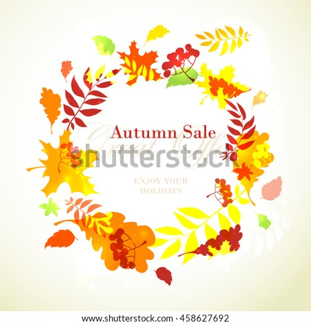 Vector illustration Autumn sale template round frame with fall bright leaves: oak, maple, birch, rowan, berries - stock vector