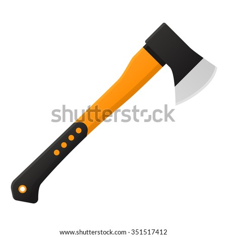 Vector illustration. Axe in flat design isolated on white background - stock vector