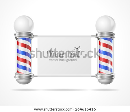 Vector illustration baber shop pole, place for your text. Editable For Your Design.