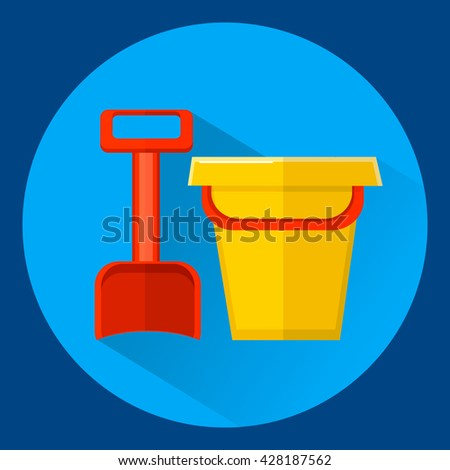 vector illustration baby bucket and shovel