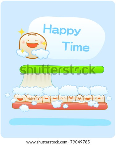 Vector illustration, baby teeth, Brushing teeth, clean teeth, happy time - stock vector