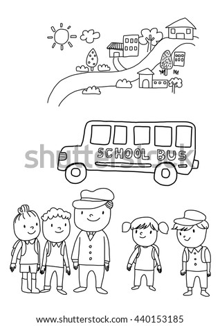 Vector Illustration Back School Coloring Page Stock Vector ...