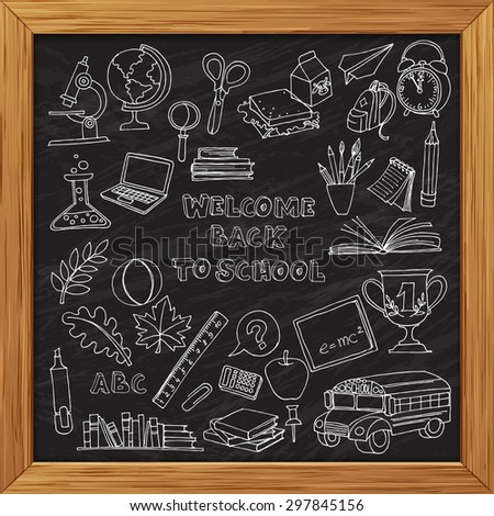 Vector illustration Back to school set of kids doodles with bus, books, computer and world map on blackboard wooden frame - stock vector