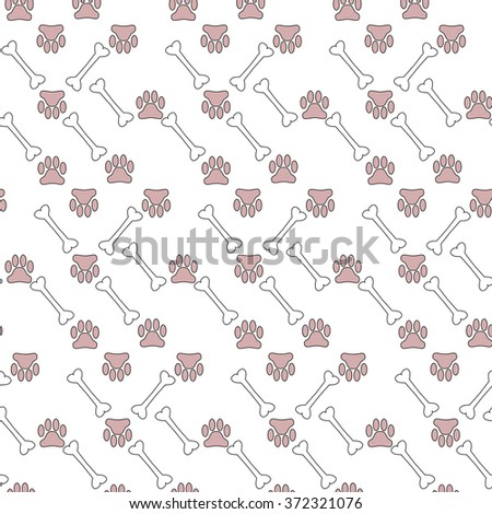 Vector illustration background of many pets paw and bones - stock vector