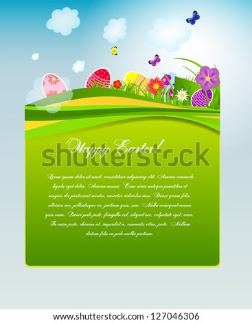 Vector illustration background with easter eggs - stock vector