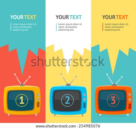 Vector illustration banner set vertical with retro television. Flat Design, option banner.  - stock vector