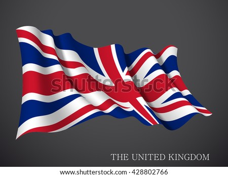 vector illustration banner with United Kingdom flag, UK waving in the wind isolated on a dark background. Modern day of independence country Holiday card with standard Spirit of the union National Day - stock vector