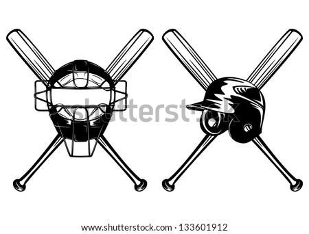 Vector illustration baseball helmet, mask and crossed bats set - stock vector