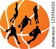 vector illustration basketball silhouette - stock vector