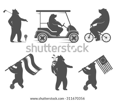 Vector Illustration Bear football, golf and cycling on a white background. Bear Symbol Can be used for T-shirts print, labels, badges, stickers, logos - stock vector
