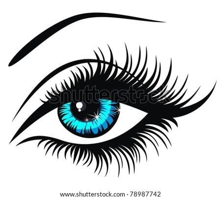Vector illustration beautiful female blue eye - stock vector