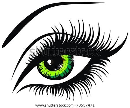 Vector illustration beautiful female green eye - stock vector