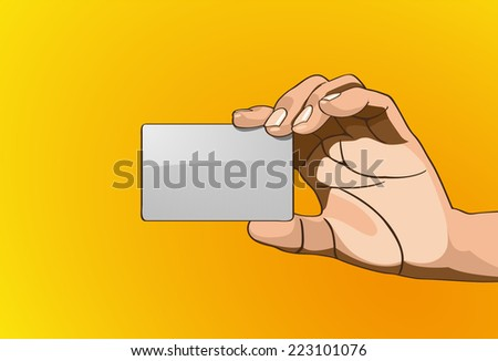 Vector illustration - Beautiful hands holding a card in outline version. Created with adobe illustrator - stock vector