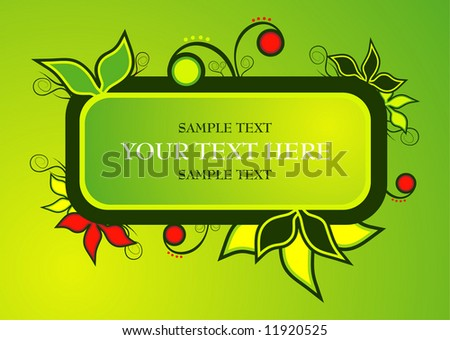 vector illustration - beautiful leaf text panel - stock vector